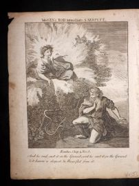 Butley 1762 Antique Religious Print. Moses's Rod turned into a Serpent